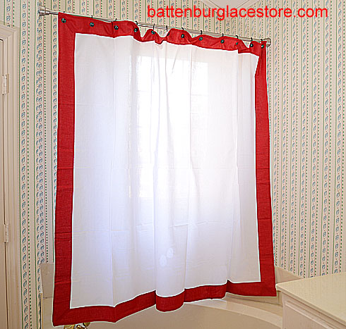 Shower Curtain. White With Red Border