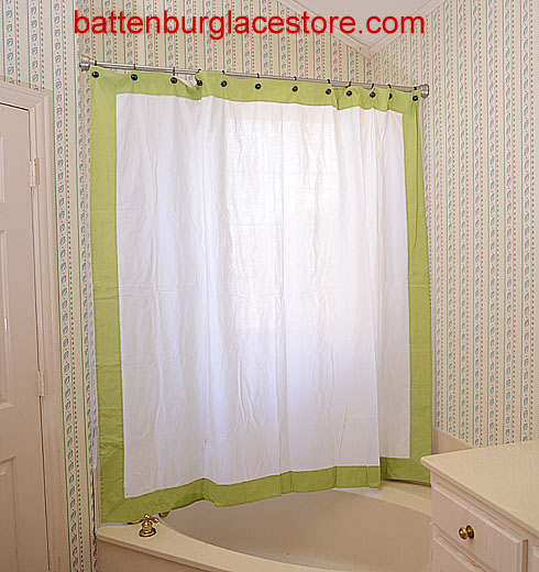 Shower Curtain White With Macaw Green Border