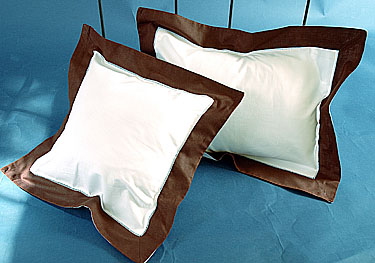 "Fashion Designer Pillow. White with Brown. 12"" square"