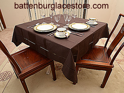 Beautiful Square Tablecloth FRENCH ROAST COLOR 54 Inches Square