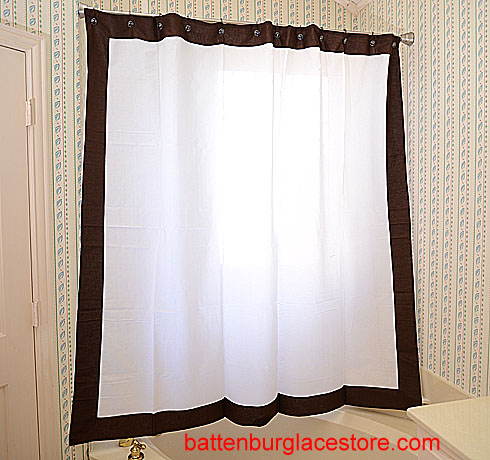 Shower Curtain White With French Roast Border
